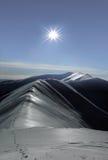 Sun over the mountain. A sunset over the Carpathian mountain range Stock Photo