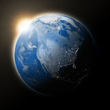 Sun over North America on planet Earth Stock Images