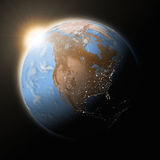 Sun over North America on planet Earth Stock Photos