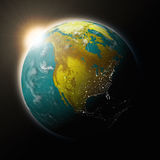 Sun over North America on planet Earth Royalty Free Stock Image