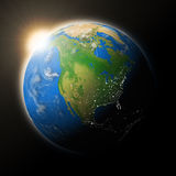 Sun over North America on planet Earth Stock Image