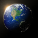 Sun over North America on planet Earth Royalty Free Stock Photography