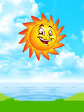 Sun over the ocean. Background royalty free illustration
