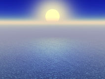 Sun over ocean horizon. Scenic view of sun on horizon shining over blue sea Royalty Free Stock Image