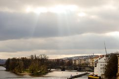 Sun over Prague Stock Photo