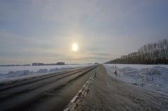 Sun Over Road Stock Photo