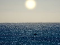 Sun over sea, sparkle in the water royalty free stock photos