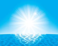 The sun over the sea Stock Image