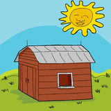 Sun Over Shed Stock Photo