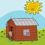Sun Over Small Barn Royalty Free Stock Images