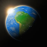 Sun over South America on planet Earth Royalty Free Stock Photography