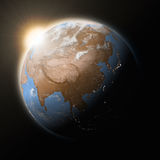 Sun over Southeast Asia on planet Earth Royalty Free Stock Image