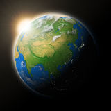 Sun over Southeast Asia on planet Earth Royalty Free Stock Photography