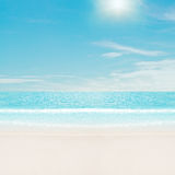 Sun over tropical beach Royalty Free Stock Photos