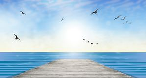 Sun over water, horizon landscape wallpaper Royalty Free Stock Images