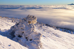 Sun over winter mountains, covered with snow. Stock Photo