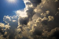 The sun overcomes the clouds. Weather changes Royalty Free Stock Image
