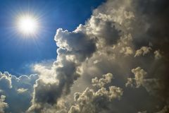 The sun overcomes the clouds. Weather changes Royalty Free Stock Images