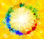 Sun and paint splashes effect background Royalty Free Stock Image