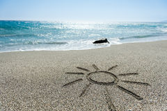Sun painted in the sand Royalty Free Stock Photography