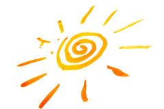 Sun painted on white background Stock Image
