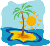 Sun and palm Royalty Free Stock Image