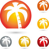 Sun and palm tree, turism and travel logo. Sun and palm tree, colored, turism and travel logo Stock Image