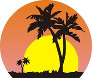 Sun and palm trees stock illustration