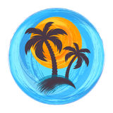 Sun and palm trees illustration. Sun and palm trees brush strokes illustration Royalty Free Stock Photography