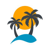 Sun and palm trees illustration. Sun and palm trees summer beach illustration Stock Photography