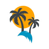 Sun and palm trees illustration Stock Photography