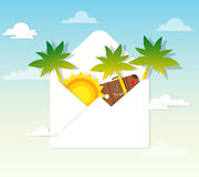 Sun and palm trees in the mail Royalty Free Stock Photos