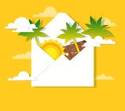 Sun and palm trees in the mail Royalty Free Stock Photography
