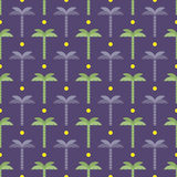 Sun and palm trees pattern Stock Photo