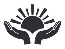 Sun in palms icon. Peace and safety concept Stock Image