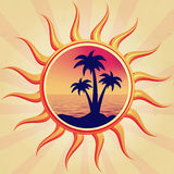 Sun with palms Stock Images