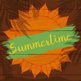 Sun with Palms Silhouettes in Wooden Sign for Summertime, Vector Illustration Royalty Free Stock Photos