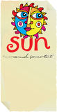 Sun paper label Royalty Free Stock Image