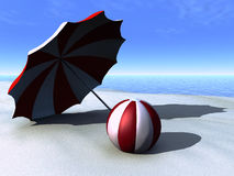 Sun parasol and beach ball on a beach. Stock Photography