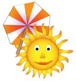 Sun with parasol, funny concept of summer Stock Images