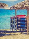 Sun parasols umbrellas on beach Royalty Free Stock Images