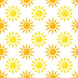 Sun pattern collection. Seamless paper set with flat sunshine icons on white background. Vector illustration. Sun pattern collection. Seamless paper set with stock illustration