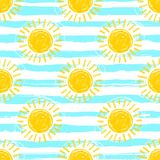 Sun pattern seamless, striped background. Hand drawn yellow sunshine icons. Cute hand-drawn summer symbols, Vector sketch vector illustration