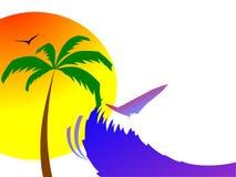 Sun, paume et ondes surfantes illustration de vecteur