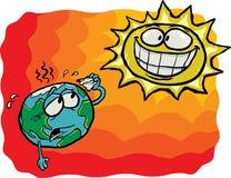 Sun pazzesco CONTRO terra Fotografia Stock