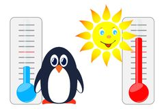 Sun and penguin with thermometers. Stock Image