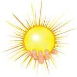 Sun in people hand vector illustration. Royalty Free Stock Photography