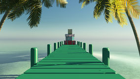 Sun and pier Royalty Free Stock Images