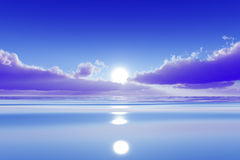 Sun in pink clouds. Over blue calm sea Royalty Free Stock Photo