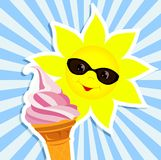 Sun with pink ice cream Royalty Free Stock Image